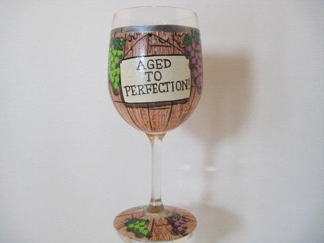 Wine Barrel Painted Wine Glass