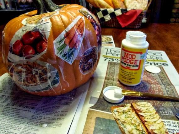 How to decoupage a funkin pumpkin