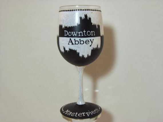 Downton Abbey painted wine glass