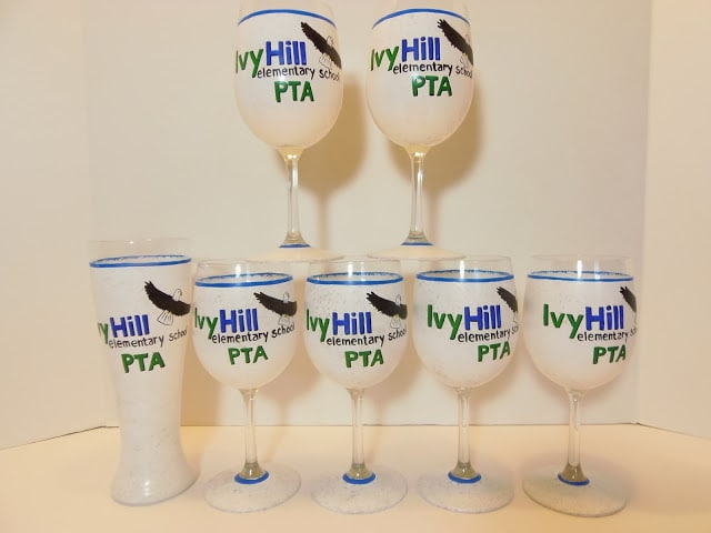School PTA logo wine glasses