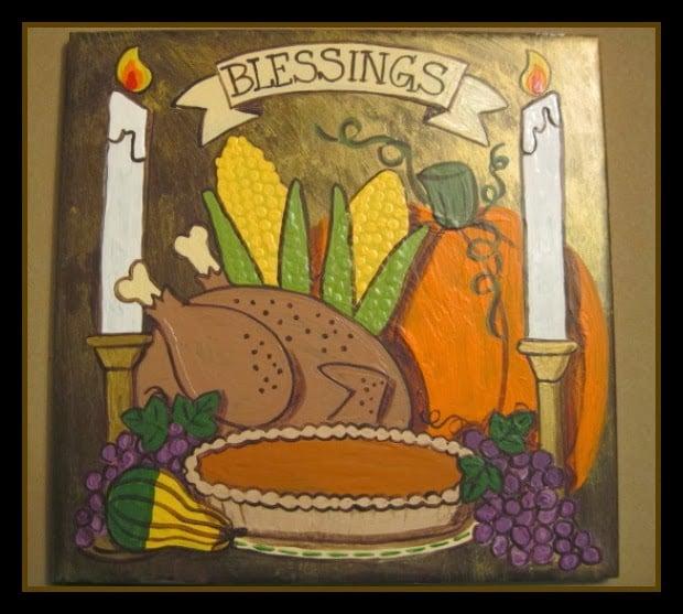 Painted ceramic Thanksgiving tile