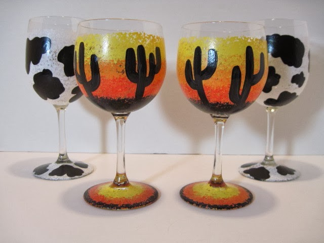 cow print and cactus silhouette painted wine glasses