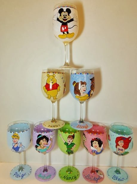 Disney wine glasses