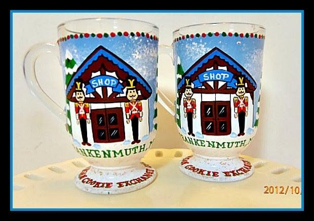 Frankenmuth, MI painted Christmas coffee mugs