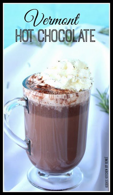 Vermont Hot Chocolate in a mug with whipped cream on top. - kudoskitchenbyrenee.com