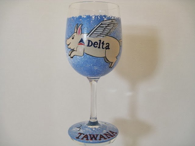 When Pigs Fly wine glass