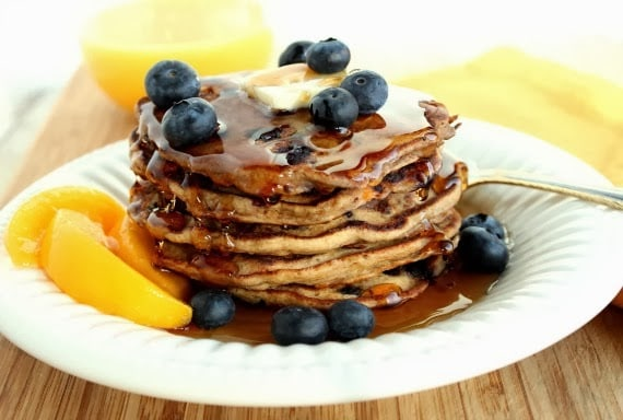 Good for you Blueberry Peach Pancakes - kudoskitchenbyrenee.com