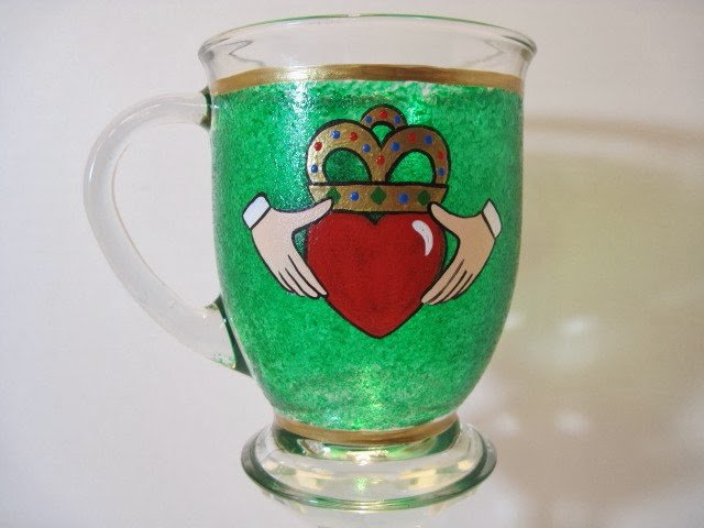 Kudos Kitchen By Renee - Irish Claddagh Painted Coffee Mug