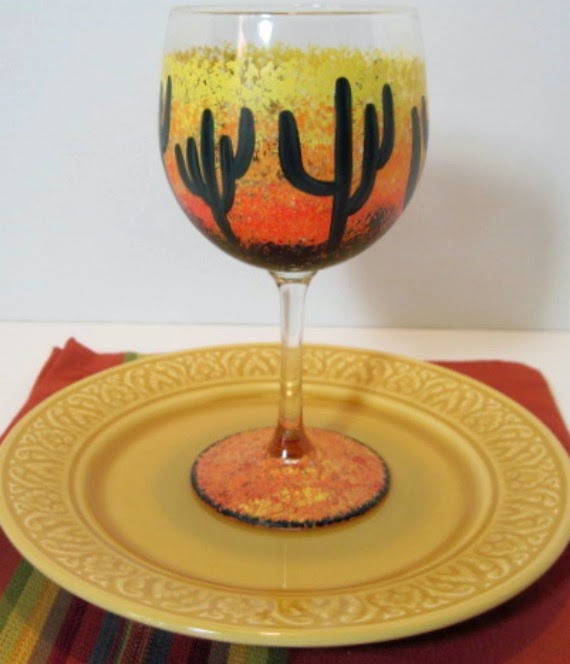 Southwestern Sunset Cactus wine glass