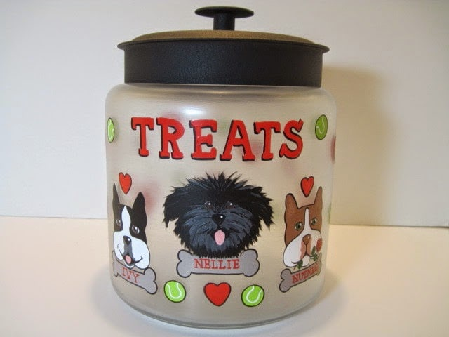 Hand Painted Dog Treat Canister