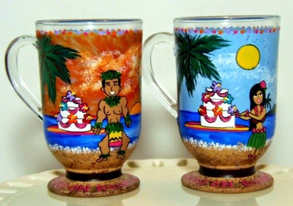 Custom Hawaiian Hula Dancer painted coffee mugs via Kudos Kitchen By Renee