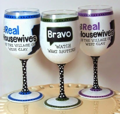 Real Housewives Inspired wine glasses