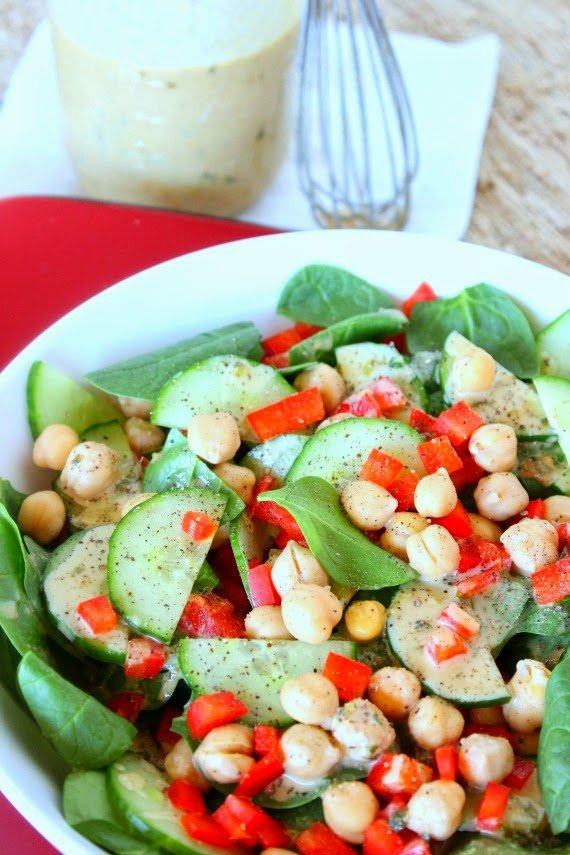 Spinach, Chickpea and Red Pepper Salad Recipe via Kudos Kitchen By Renee