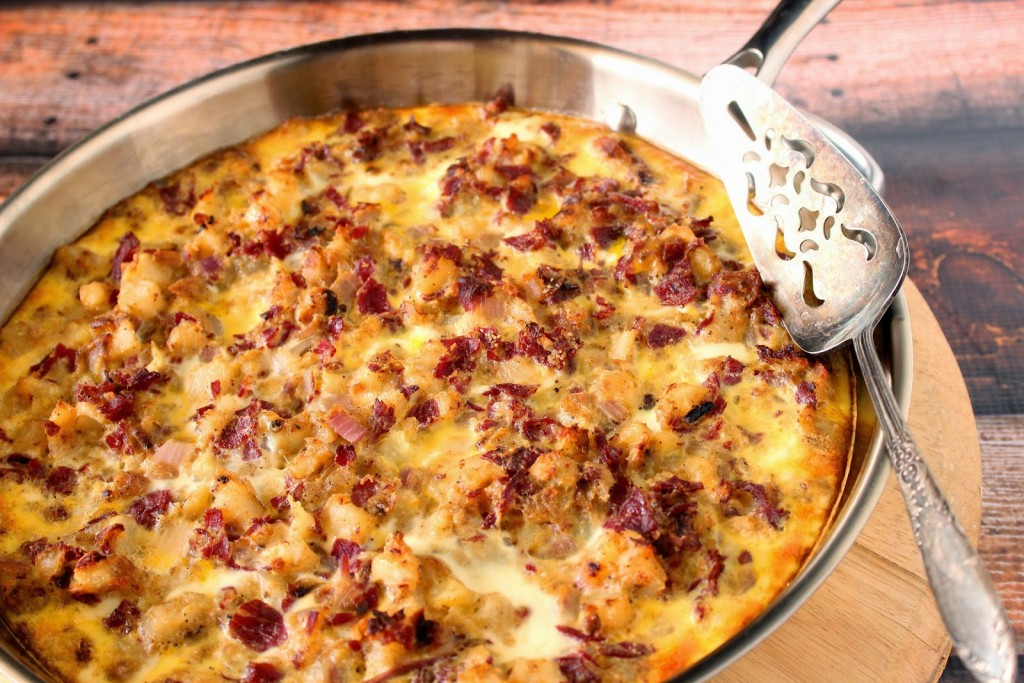 Corned Beef Hash Frittata Recipe via Kudos Kitchen by Renee