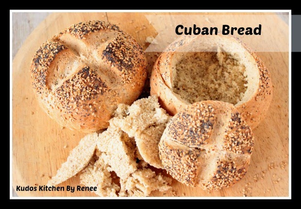 Two Cuban Bread Bowls with seed topping.
