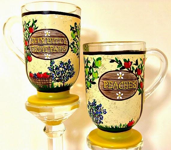 Fruit Farm custom painted coffee mugs via Kudos Kitchen by Renee