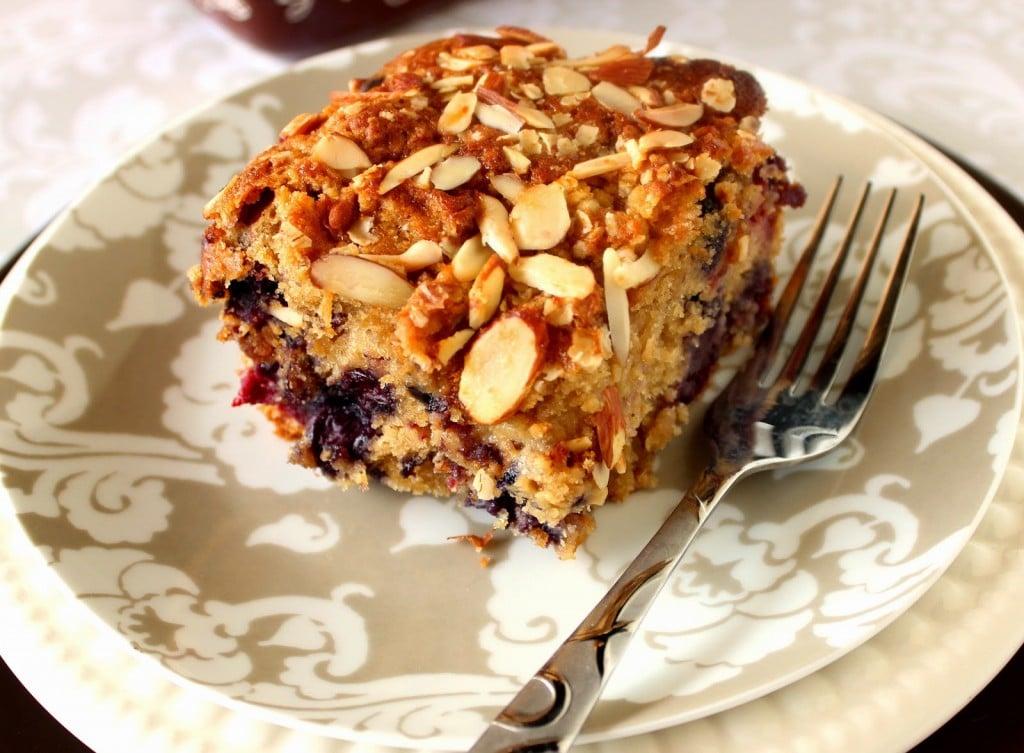 Mixed Berry Almond Oatmeal Coffeecake Recipe via Kudos Kitchen by Renee