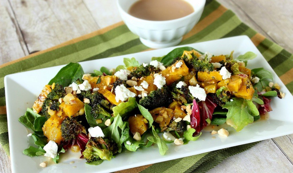 Roasted Golden Beet and Broccoli Salad Recipe via Kudos Kitchen by Renee