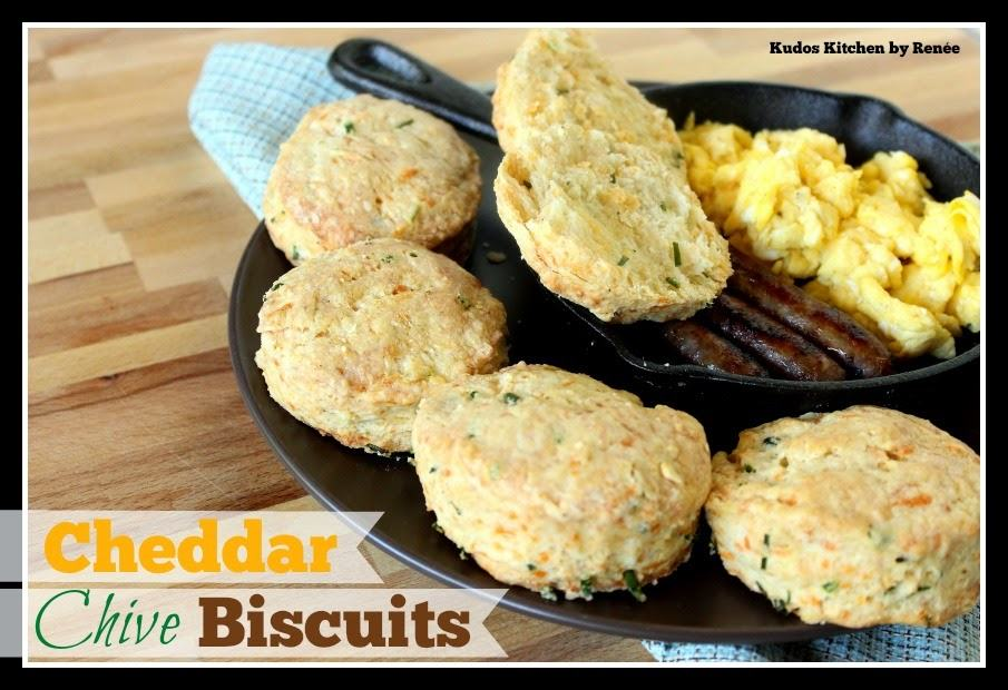 Homemade Cheddar Chive Biscuits via kudoskitchenbyrenee.com