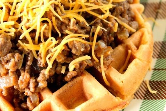 Sloppy Joes Over Cornbread Waffles - kudoskitchenbyrenee.com