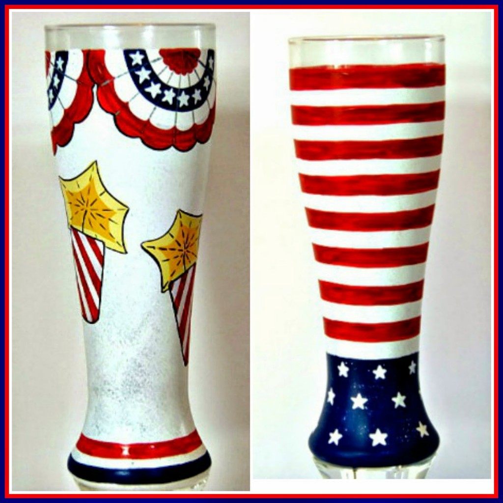 4th of July painted pilsners via kudoskitchenbyrenee.com