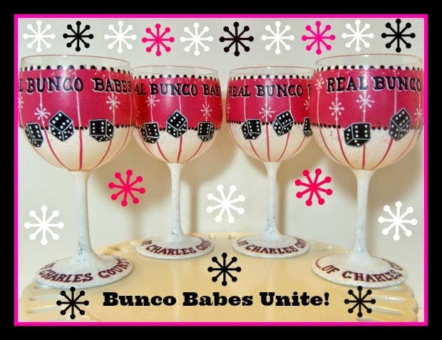 Bunco painted wine glasses via kudoskitchenbyrenee.com