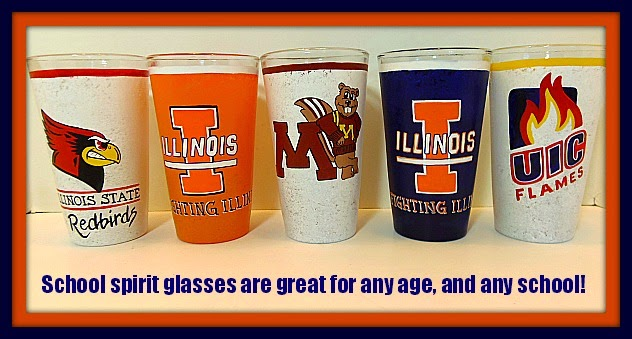 College logo painted everyday glasses