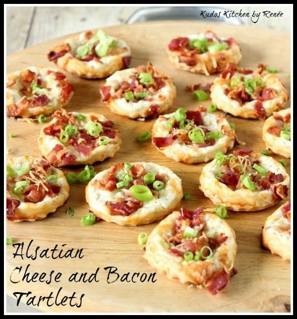 Alsatian Cheese and Bacon Tartlets via kudoskitchenbyrenee.com