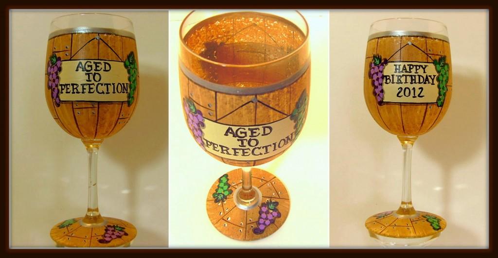 Happy Birthday Wine Barrel Painted Wine Glass