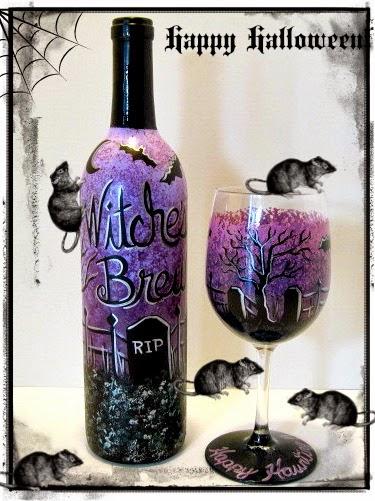 Haunted Graveyard painted alcohol bottle and wine glass / www.kudoskitchenbyrenee.wazala.com