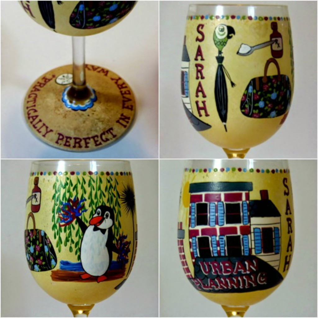 Mary Poppins themed painted wine glass / www.kudoskitchenbyrenee.wazala.com