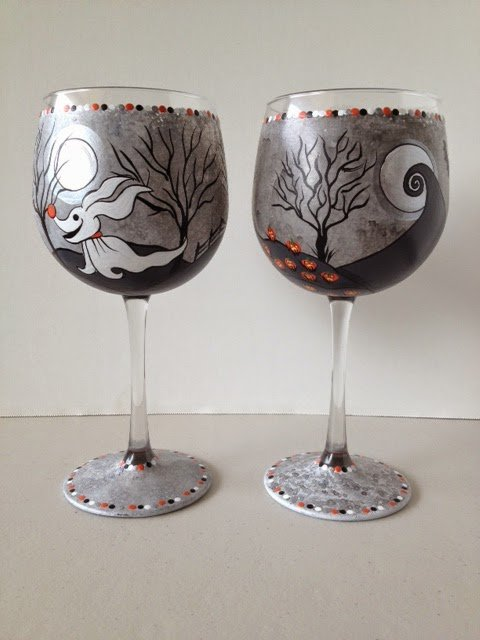 Nightmare Before Christmas painted wine glasses via kudoskitchenbyrenee.com