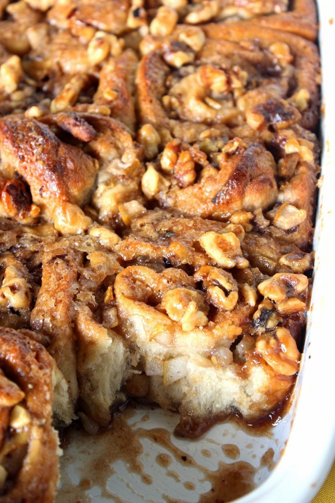 Pear and Walnut Sticky Buns with sweet dough and caramel sauce