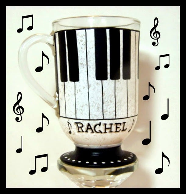 Piano Keys Painted Irish Coffee Mug via kudoskitchenbyrenee.com