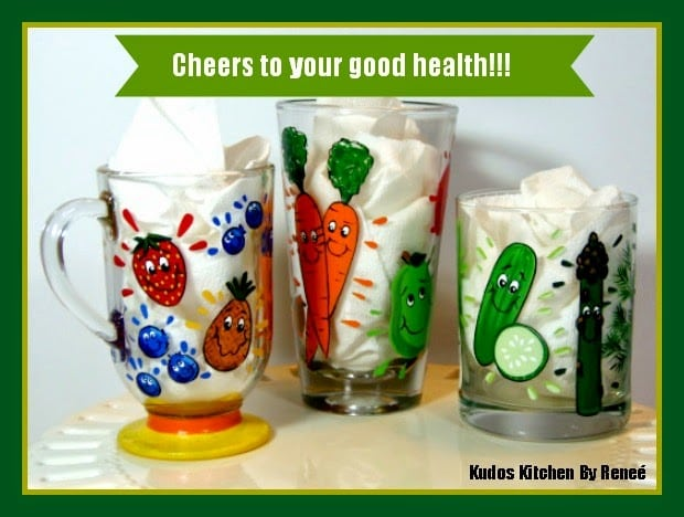Whimsical Hand Painted Juicing Glasses