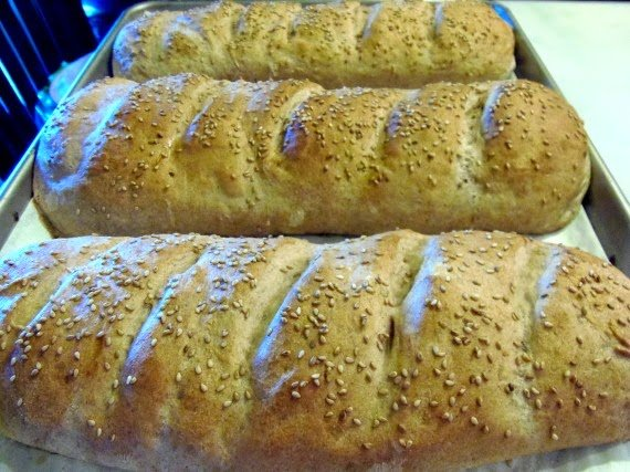 No-Rise Whole Wheat French Bread is loaded with dried basil and garlic.