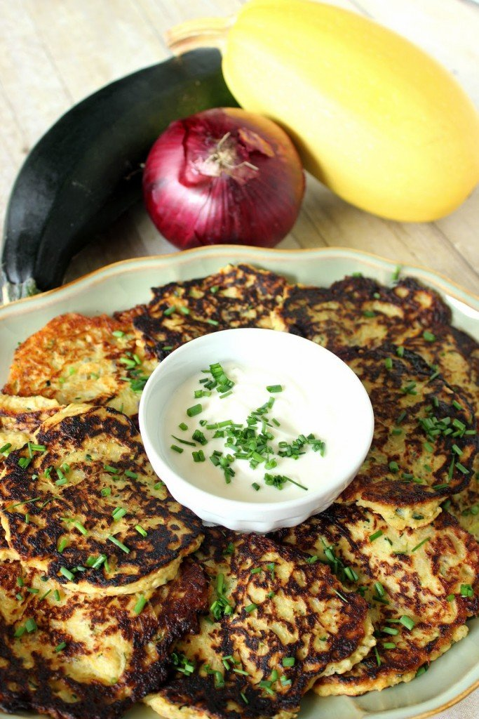 Spaghetti Squash and Zucchini Pancakes with onion and nutmeg.