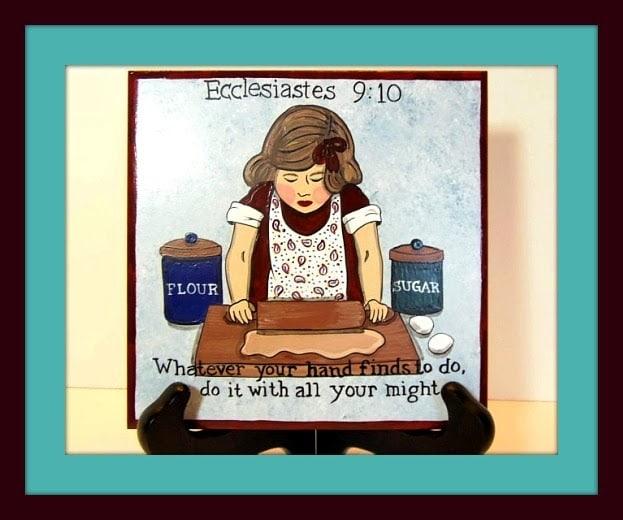 Ecclesiastes 9:10 hand painted ceramic tile / www.kudoskitchenbyrenee.com