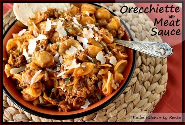 Orecchiette pasta with ground pork and lamb meat sauce.