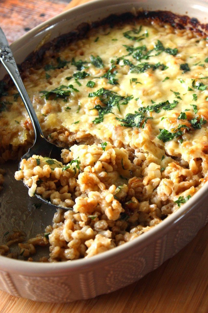 Farro and Onion Casserole is a rich and nutty comfort food.