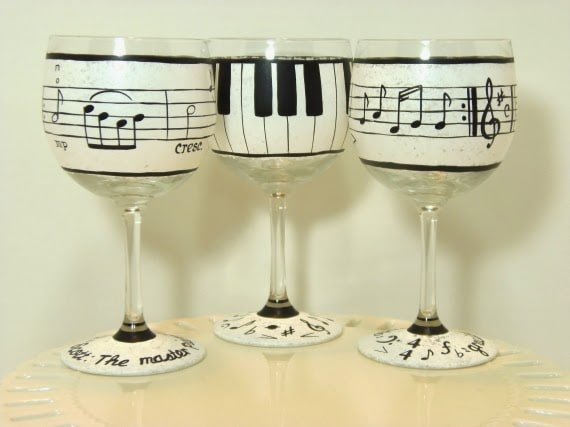 Piano Keys and Music Lovers hand painted wine glasses
