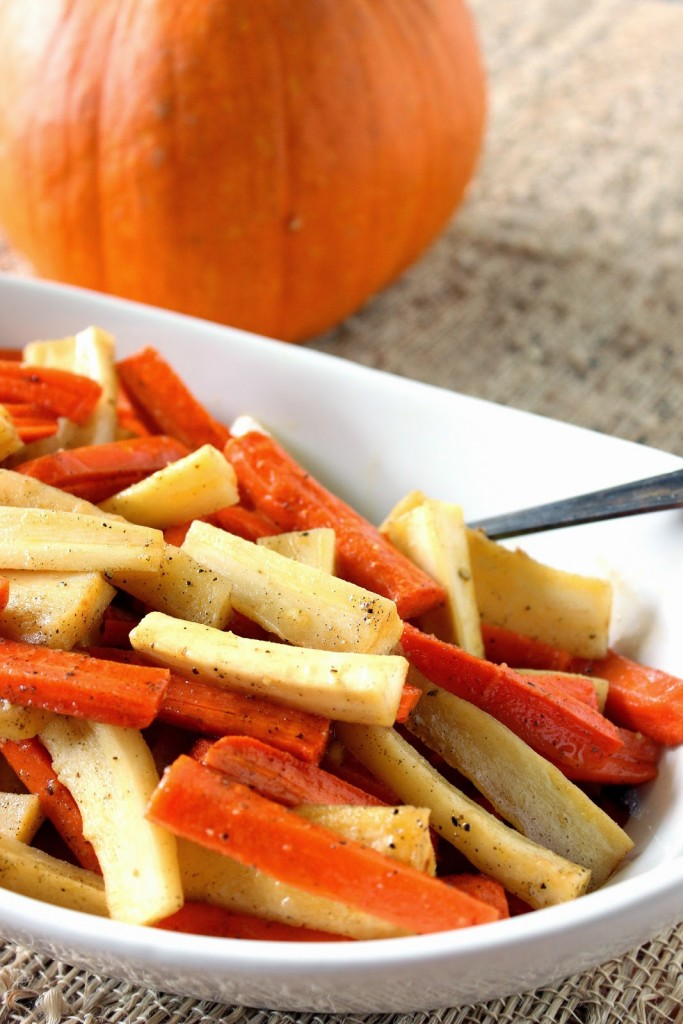 Roasted Parsnips and Carrots with Maple Syrup and Cardamom is the perfect side dish for the fall table.