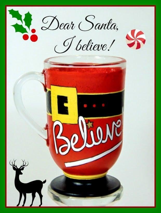 "Santa inspired ""I Believe"" hand painted coffee mug"