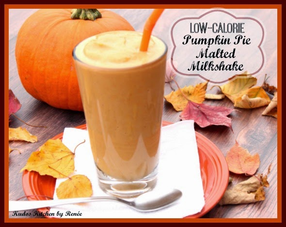 Low-Calorie Pumpkin Pie Malted Milkshake is a creamy and delicious blend of pumpkin, low-fat vanilla yogurt, malted milk powder, vanilla and spices.