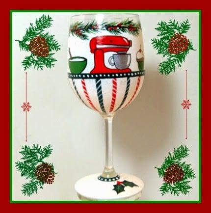 Hand Painted Kitchen Aid Themed Stand Mixer Wine Glass - kudoskitchenbyrenee.com