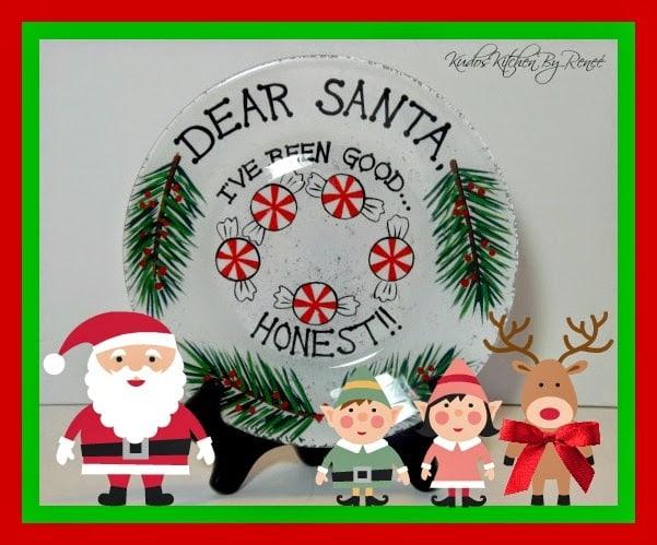Dear Santa hand painted cookie plate