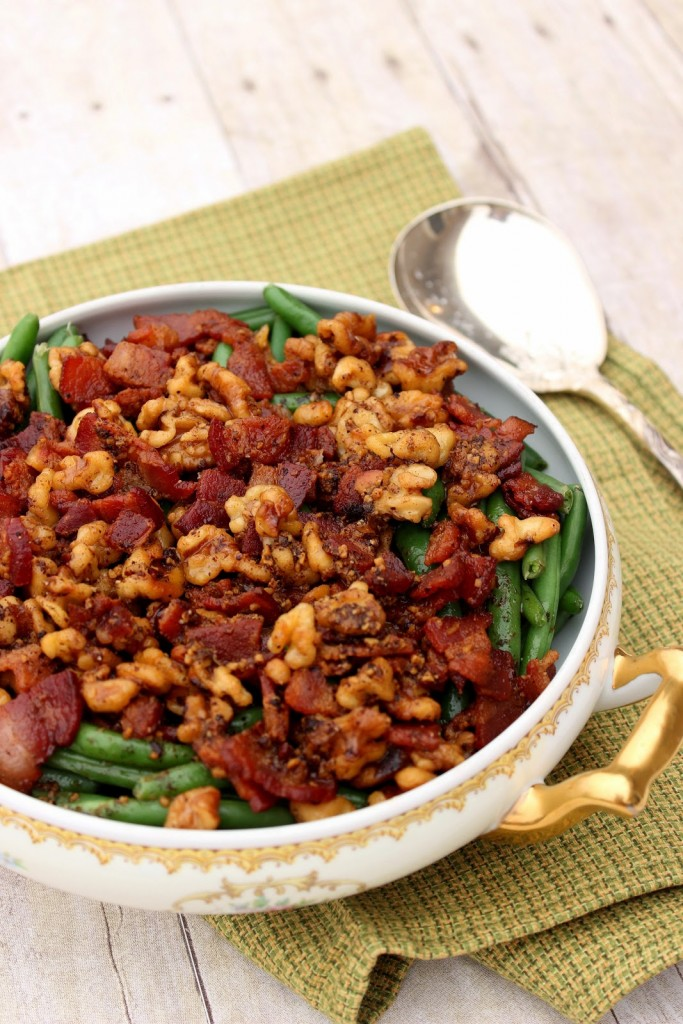 Honey Green Beans with White Wine, Bacon and Walnuts Recipe / Kudos Kitchen by Renee