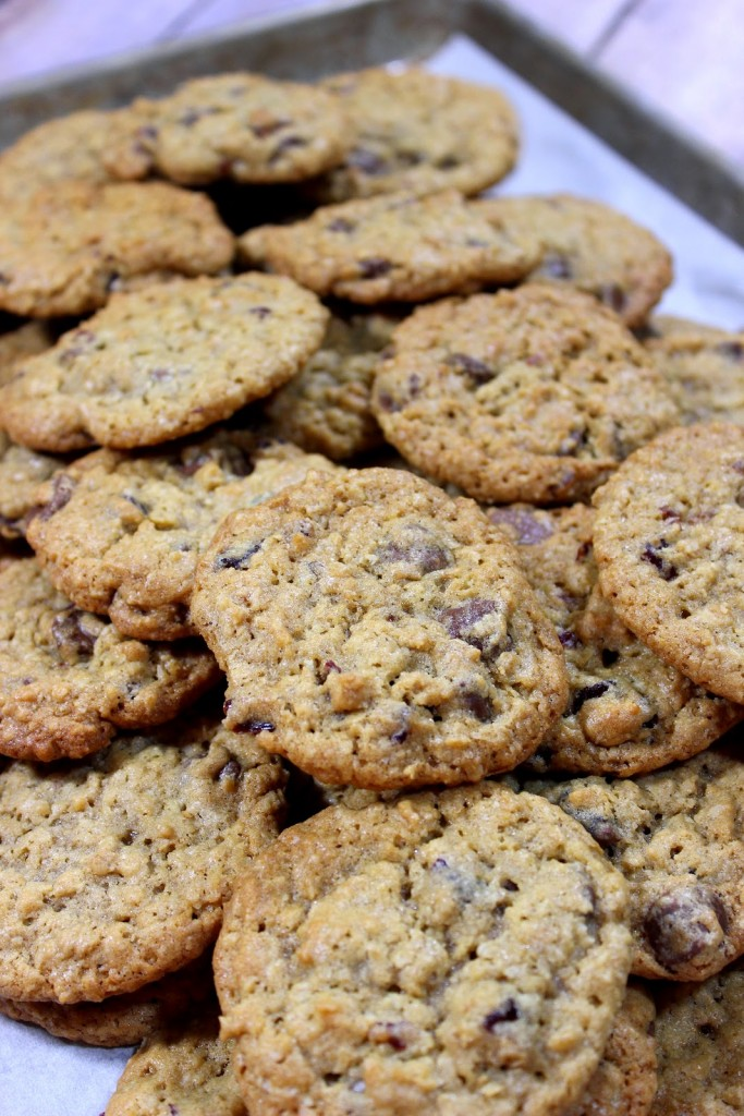 Chocolate Cherry Oatmeal Cookies are the perfect cookie to satisfy your sweet tooth and still get in your daily fiber and fruit requirements...well, sort of. LOL