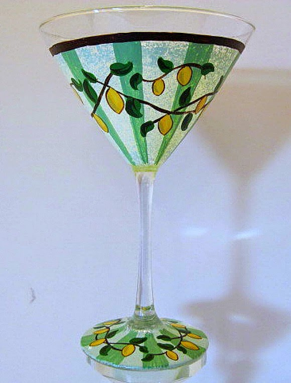 Hand Painted Lemon Drop Martini Glass / www.kudoskitchenbyrenee.wazala.com
