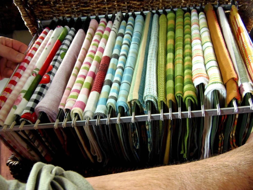 If you're a food blogger (like me) or crafter who collects fabrics for sewing projects, this basket filing system is a great way to store and organize your napkins and swatches.